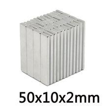 5~200PCS 50x10x2 N35 Strong Rare Earth Magnet Thickness 2mm Block Rectangular Neodymium Magnets 50x10x2mm Strip Magnetic 50*10*2