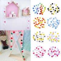 2.5m 30pcs Wool Felt Balls Soft Fluffy Poms Balls for DIY Pompoms Garland Kids Room Wall Decor Nursery Bedroom Pom Pom Crafts