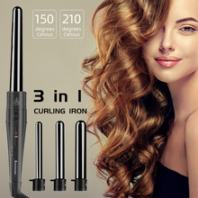 3 In 1 Hair Curler Iron Ceramic Hair Crimper 100-240V Roller Hair Tongs Interchangeable Hair Styler Fast Heating Styling Tool стоимость