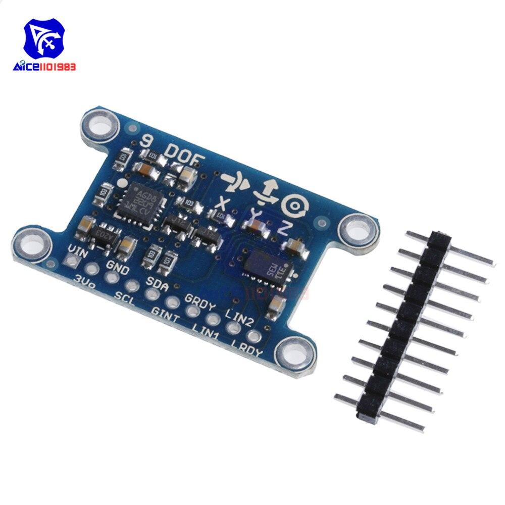 Diymore 9 axis imu l3gd20 lsm303d módulo 9dof bússola aceleração digital giroscópio sensor para arduino 3-5 v iic/spi protocolo