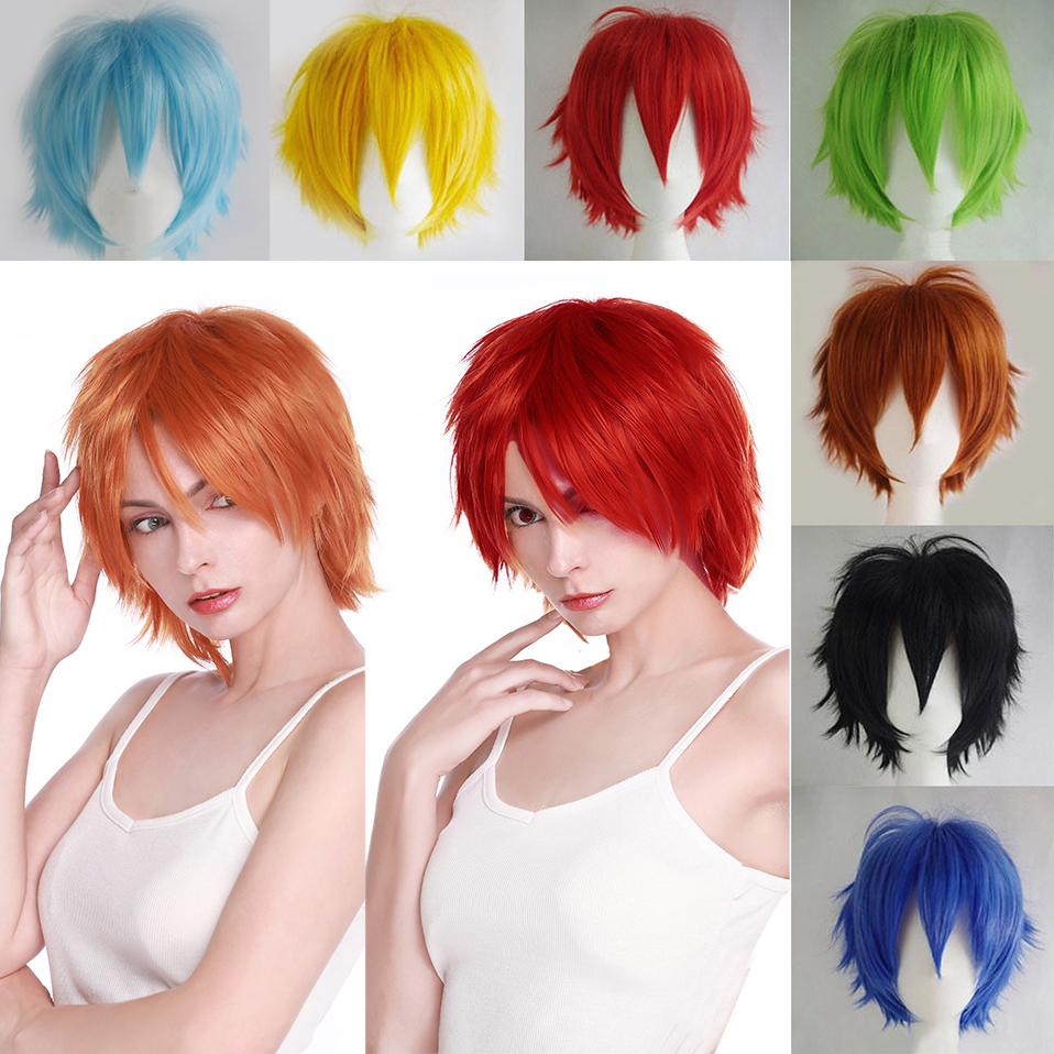 SNOILITE Anime Black White Orange Red Short Cosplay Wig With Bangs 30cm High Temperature Fiber Synthetic Hair Wigs For Party