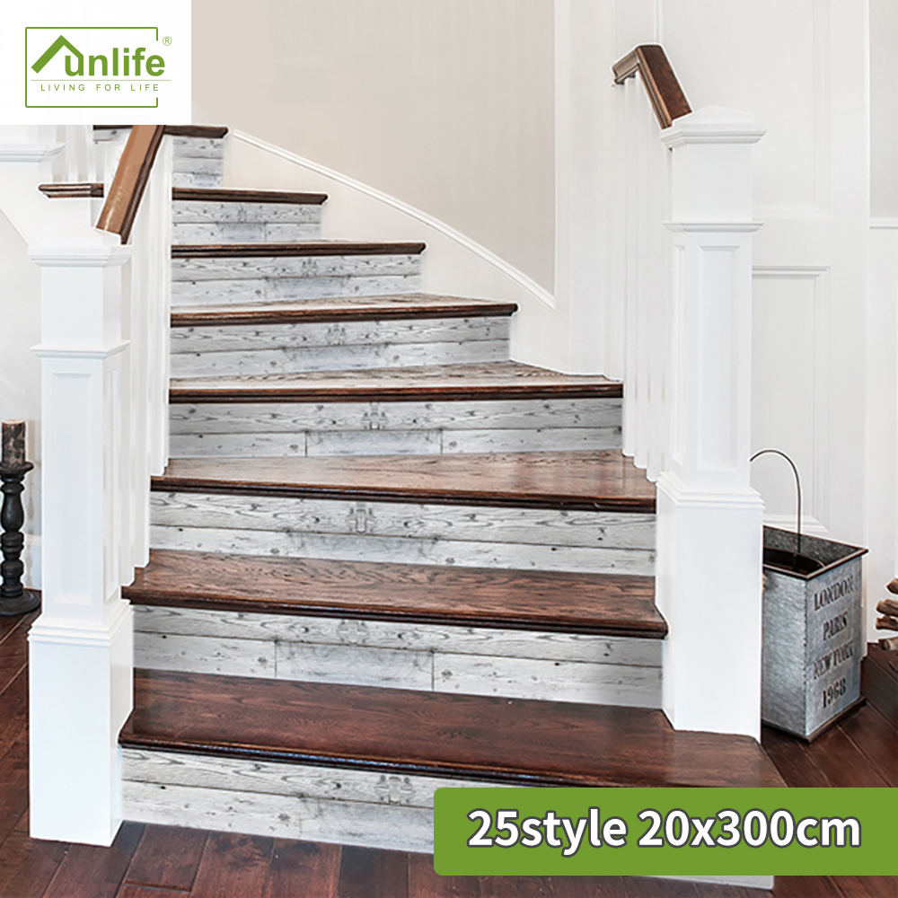 Funlife®Escalier facile à nettoyer résistant à l'huile amovible décoratif Peel & Stick autocollant d'escalier pour meubles salle de bain cuisine décor