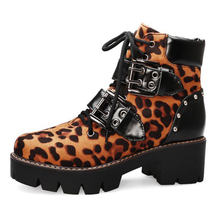 Women's Ankle Boots Round Toe Leopard Buckles Lace Up Platform Shoes High Heels Motorcycle Big Size 43 M2(China)