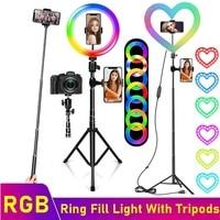 Tongdaytech לב Dimmable RGB LED Selfie טבעת למלא אור תמונה טבעת מנורת חצובה עבור איפור וידאו חי Aro דה לוז para Celular