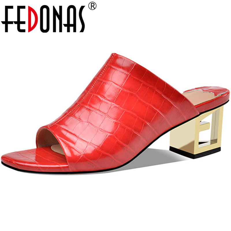 FEDONAS Sexy Newest Genuine Leather Women Sandals Top Quality High Heels Pumps 2020 Spring Summer Party Wedding Shoes Woman