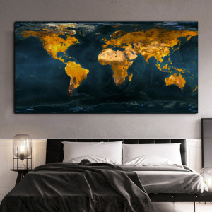 Big Size Map Painting Posters and Prints Wall Art Canvas Painting Golden World Map Picture for Study Living Room Home Decoration
