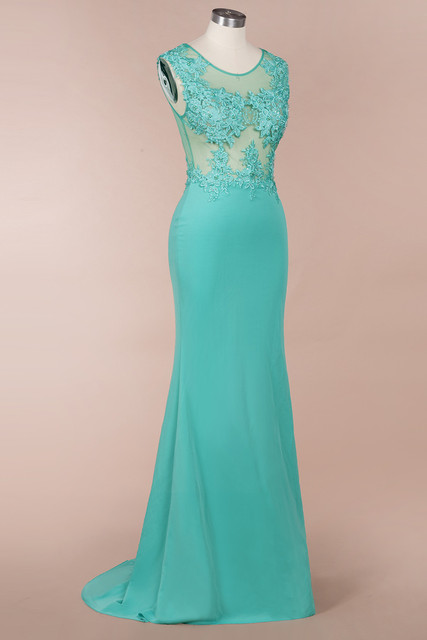 New Arrival Green Lace Mermaid Prom Dresses Long Sexy Illusion Sleevess Evening Party Dresses Vestido de Festa 4
