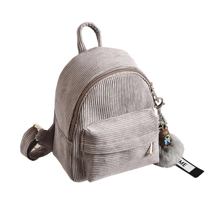 Mini Women Backpacks Corduroy Student Fuzzy Ball Pendant Shoulder School Bags Female Small Travel Rucksack Black