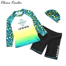 Children's Swimwear Rash-Guard Toddler Beachwear Long-Sleeve Three-Pieces Kids Boy