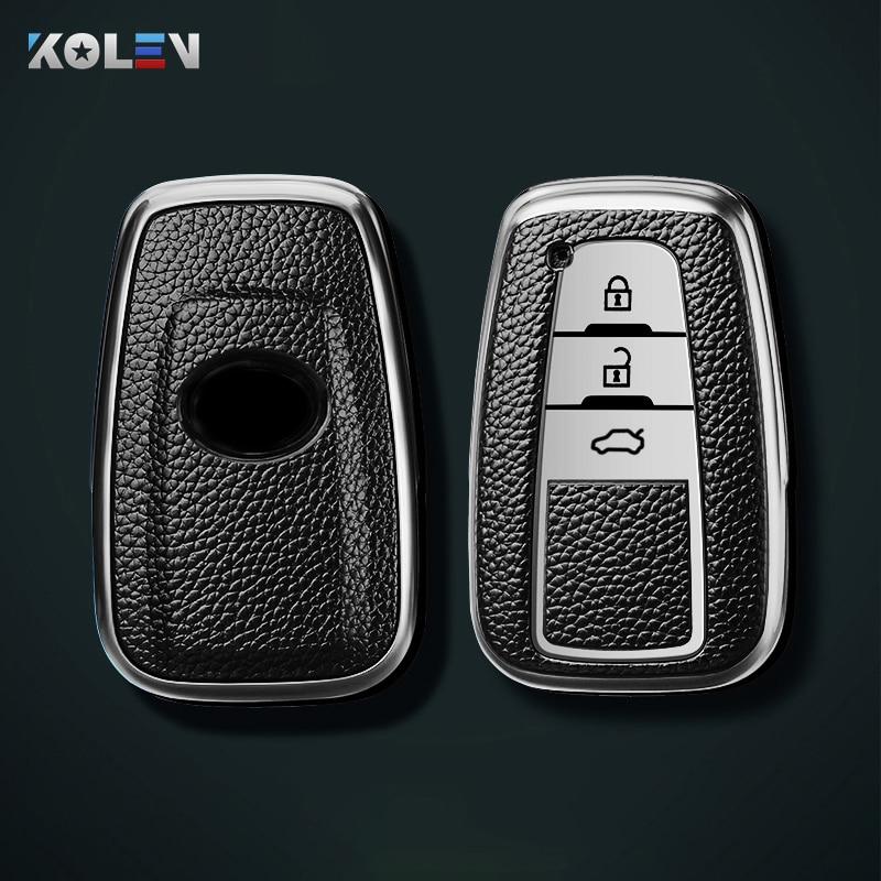 Кожа + ТПУ чехол ключа дистанционного управления автомобилем чехол в виде ракушки для Toyota Camry RAV4 Prius ЧР C-HR ключ для Toyota Camry, Avalon, Corolla Land Cruiser Prado ...