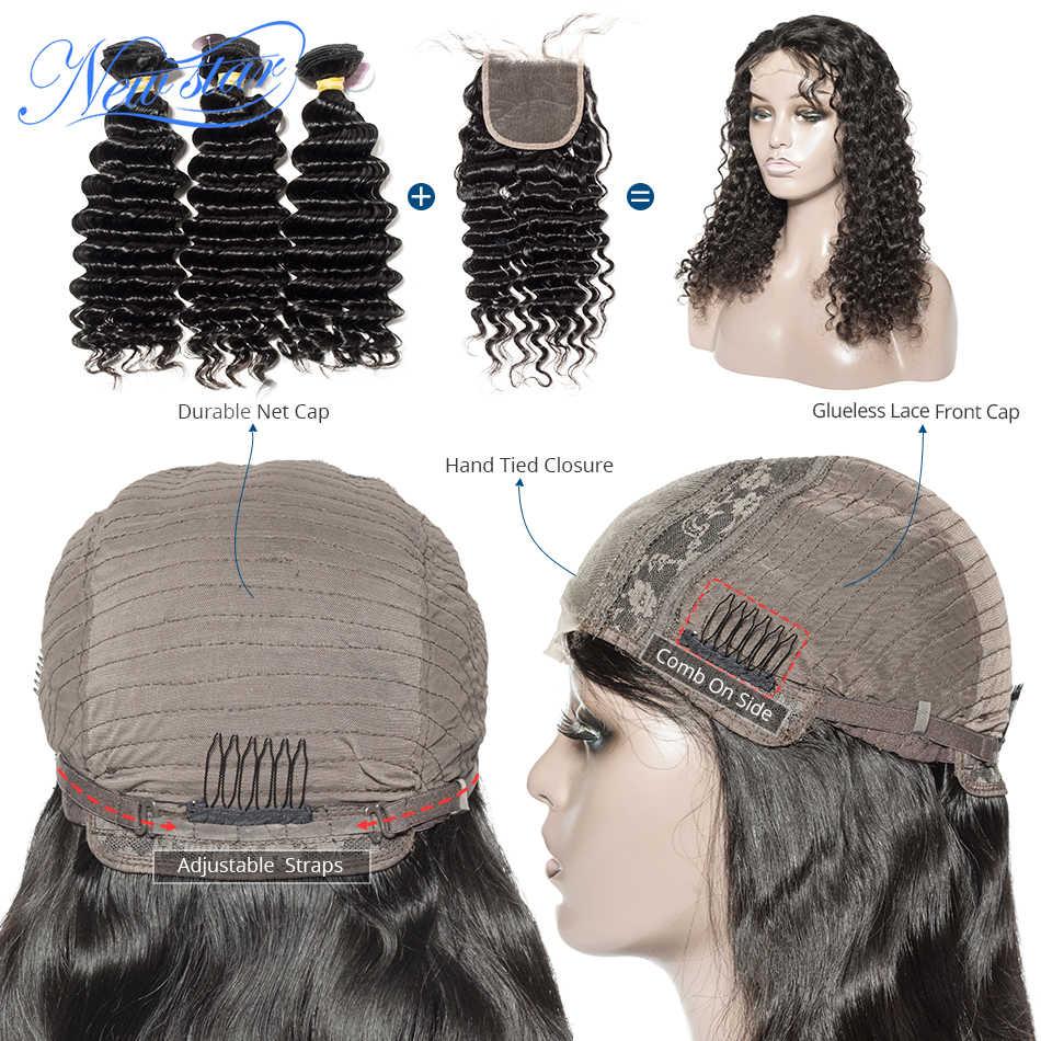 Бразильский парик с глубоким волнистым кружевом, 4x4, 200% плотность, бесклеевая, индивидуальный парик с кружевом, новая звезда, девственные человеческие волосы, парик для черных женщин
