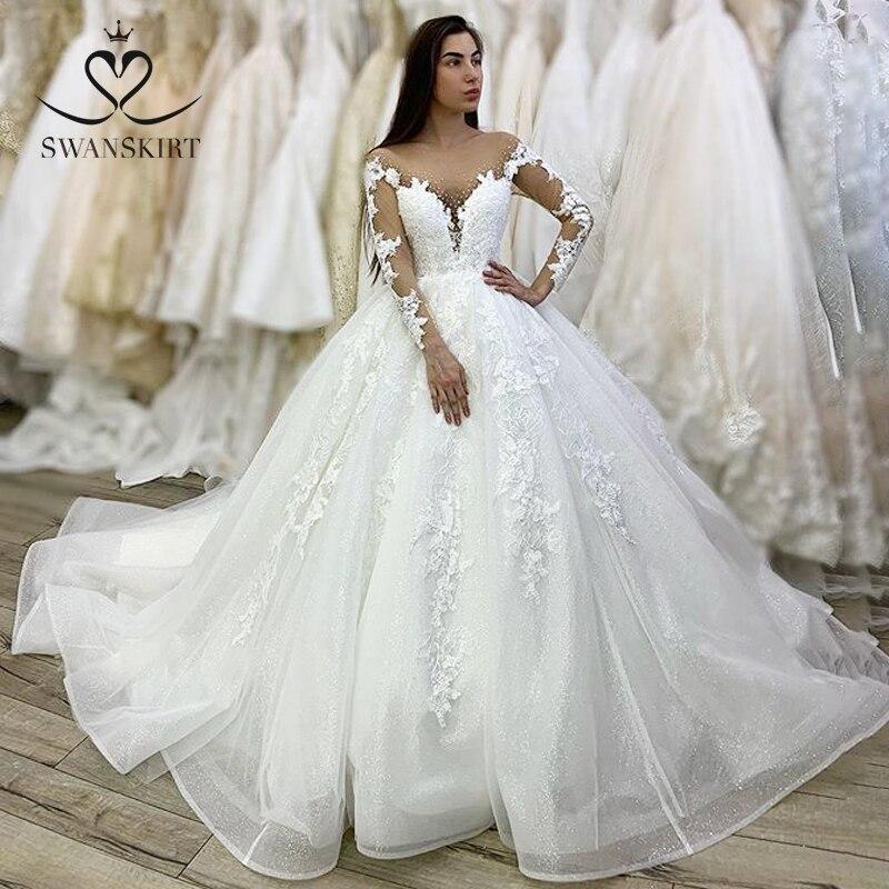 Luxury Beaded Long Sleeve Wedding Dress Swanskirt XZ38 Sweetheart Appliques Lace Ball Gown Princess Bridal Gown Vestido De Novia