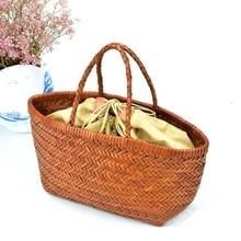 Women's Genuine Leather Shoulder Bag with Inner Bag Weaving