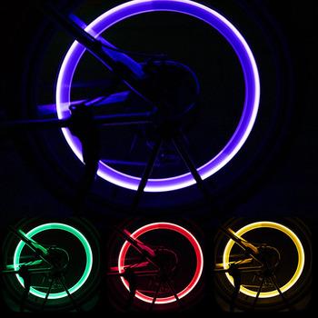 Światła rowerowe z bateriami koło lampka na szprychy LED rowerowy zawór światła opona nakrętka zaworu MTB światło rowerowe akcesoria rowerowe tanie i dobre opinie CN (pochodzenie) bicycle light 002 Zaworu opony czapki Baterii 3 x AG10 button batteries (Included) Red Blue Yellow Green Colorful
