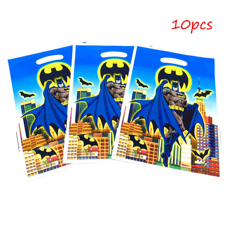 10pcs Batman Themed Gift Bags Birthday Party Decorations Kids Candy Packaging Plastics Bags Party Supplies Baby Shower Gift Bag