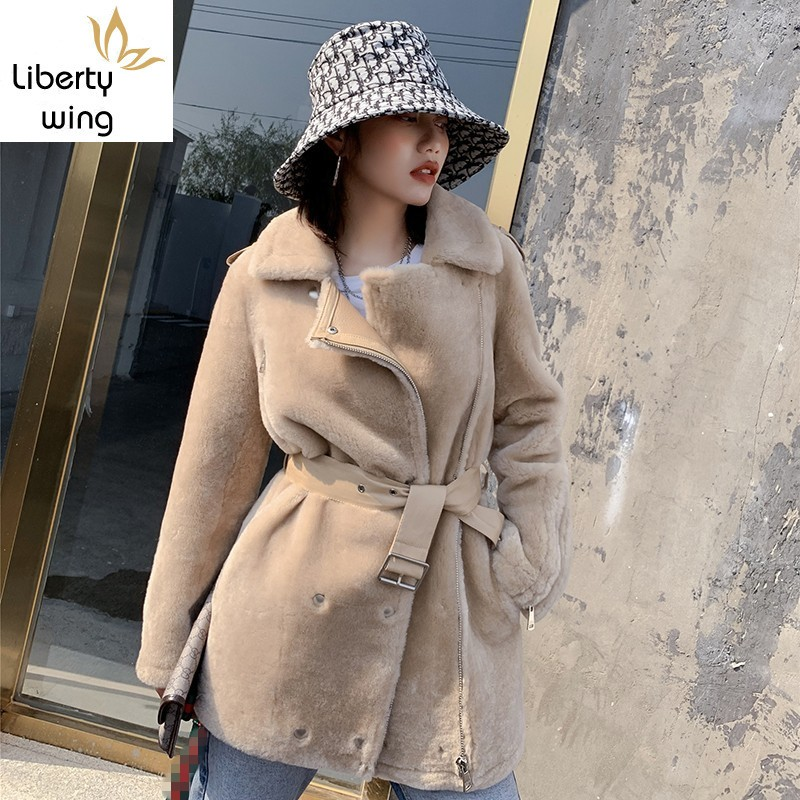 Luxury Women Real Fur Loose Fit Leather Belted Natural Wool Coat Office Ladies Mid Long Shearling Jacket Winter Overcoat