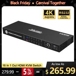 Kvm-switch 16 Port USB HDMI KVM Switcher 16 In 1Out KVM HDMI Schalter 16x1 Unterstützung 4k @ 30Hz RS232 LAN 2 Pcs Rack Ohren Standard 1U