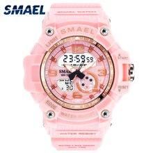 Спортивные цифровые женские часы SMAEL, женские часы с браслетом, женские армейские часы со светодиодами, водонепроницаемые часы 50 м, reloj mujer1808