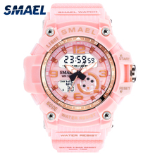Sport Watch Digital Woman SMAEL Women Clock Bracelet Ladies Military Army LED Watch reloj mujer1808 Women Watches 50M Waterproof