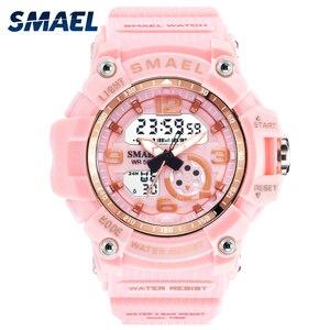 Image 1 - Sport Watch Digital Woman SMAEL Women Clock Bracelet Ladies Military Army LED Watch reloj mujer1808 Women Watches 50M Waterproof