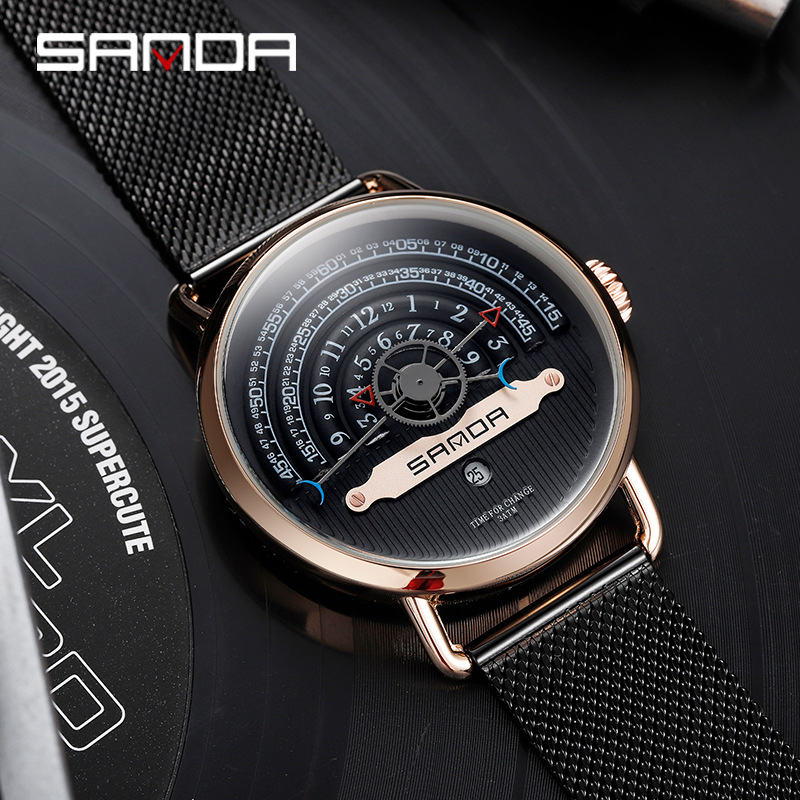 Sanda New Fashion Creative Men Watches Personality Trend Big Turntable Male Quartz Wrist Watch Manufacturers Relogio Masculino