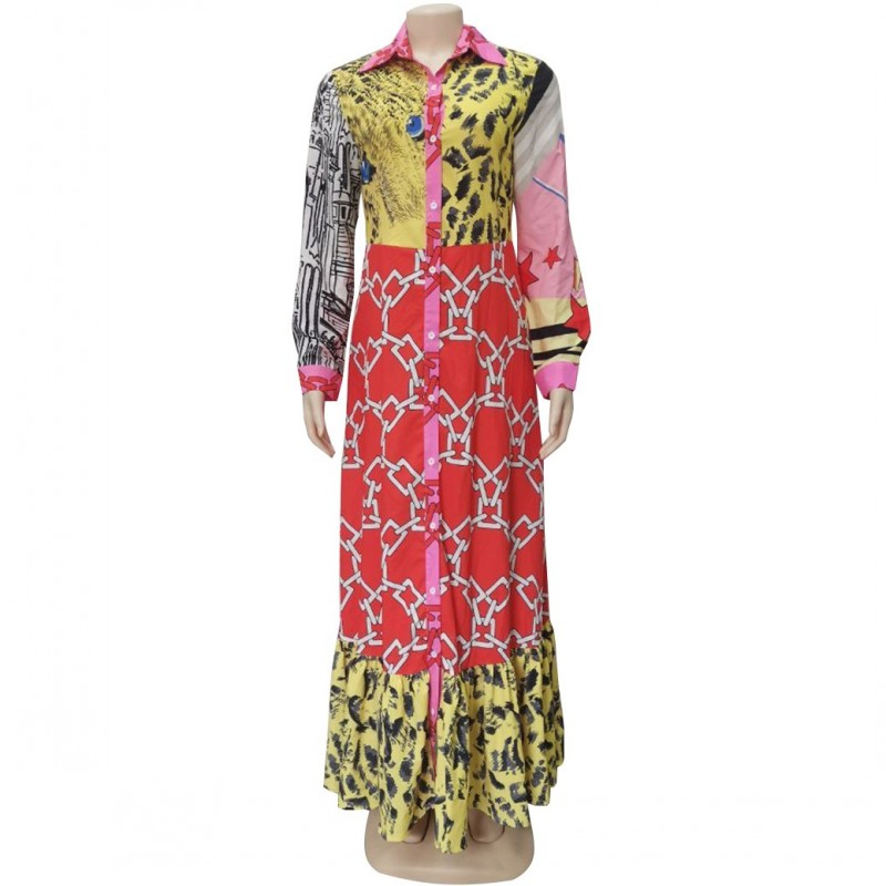 African Dresses For Women Robe African Clothing Dashiki Fashion Print Cloth Long Maxi Dress Long Sleeve Africa Clothing