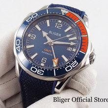 цена BLIGER Brand Sapphire Glass Blue Dial GMT Hand Ceramic Bezel Rubber Strap Self Winding Men Watch онлайн в 2017 году