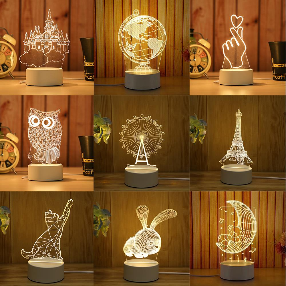 3D LED Table Lamp Acrylic Night Lights Creative 3D LED Lights Novelty Illusion Table Lamp Bedroom Office Decor Gift Ornament