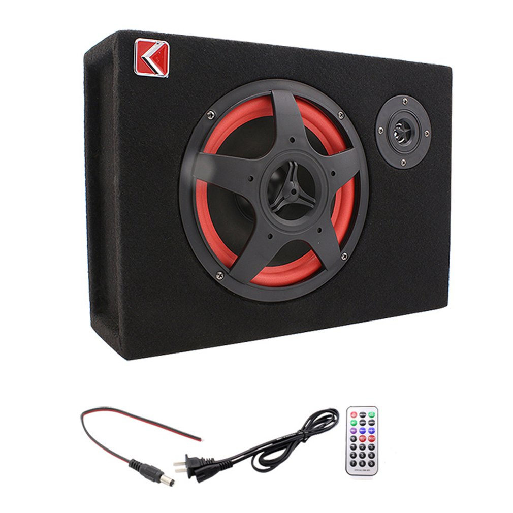 350W Under-Seat Car Compact Subwoofer Amp Bass Speaker Powerful Audio Amplifier with Remote Subwoofer Control 6 Inch  US Plug
