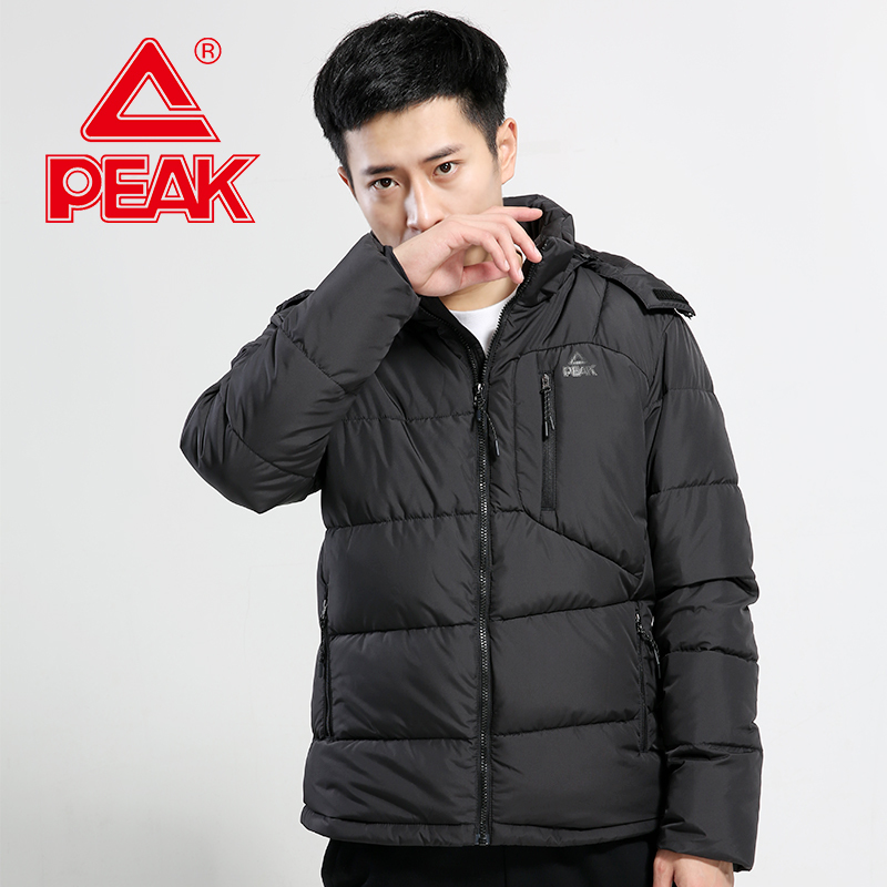 PEAK Men's Down Jacket Hooded 100% Polyester Windproof Warm Sports Jacket Autumn And Winter Outdoor Training Series Thick Jacket