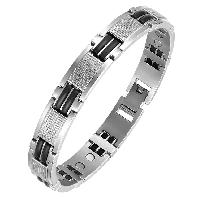 Oktrendy Couple Magnetic Stainless Steel Bracelet With Hook Buckle Clasp Therapy Bangles Man Health Care Jewelry Men's Bracelets