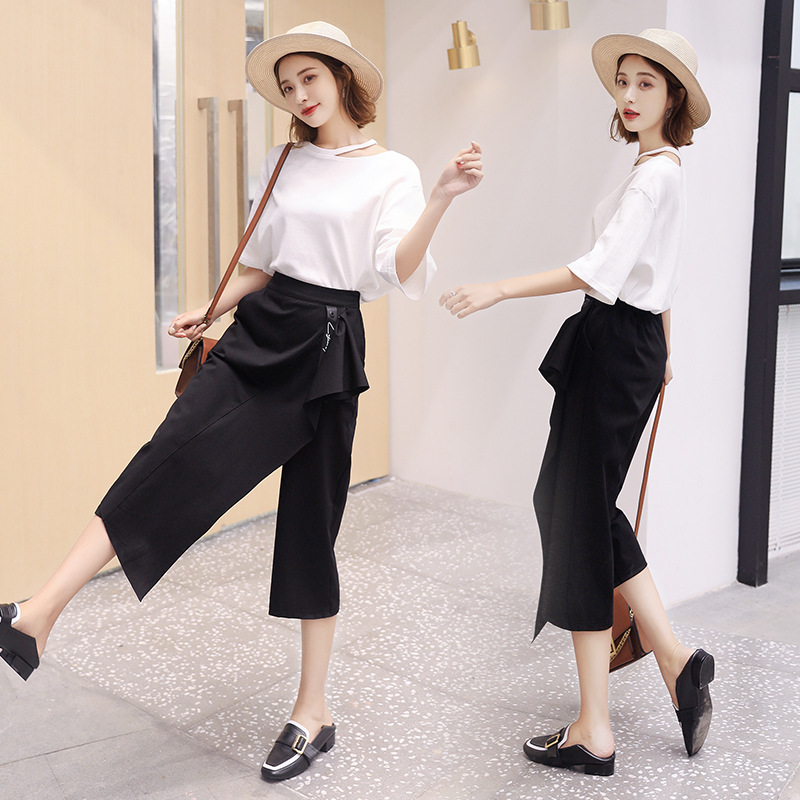 Fashion Capri Loose Pants Skirt Set Women's Loose-Fit 2019 Summer Wear Korean-style Short Sleeve T-shirt Casual Two-Piece Set