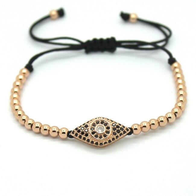 Famous Men Rose Gold Bracelets,Pave Setting Black CZ Evil Eye Connector & 4mm Round Beads Braiding Fashion Men Macrame Bracelet