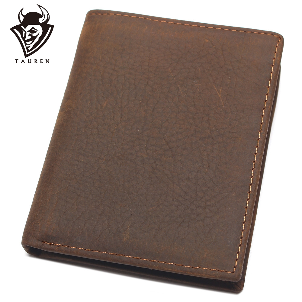 NEW Vintage Cowhide Mens Wallet Genuine Crazy Horse Leather Man Purse Brand Male Credit&Id Multifunctional Brown Wallets