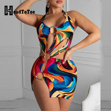 Kleurrijke Print Slit Cut Out Dress Vrouwen Sexy Hallow Out Halter Mini Bodycon Jurk Zomer Strand Jurk(China)