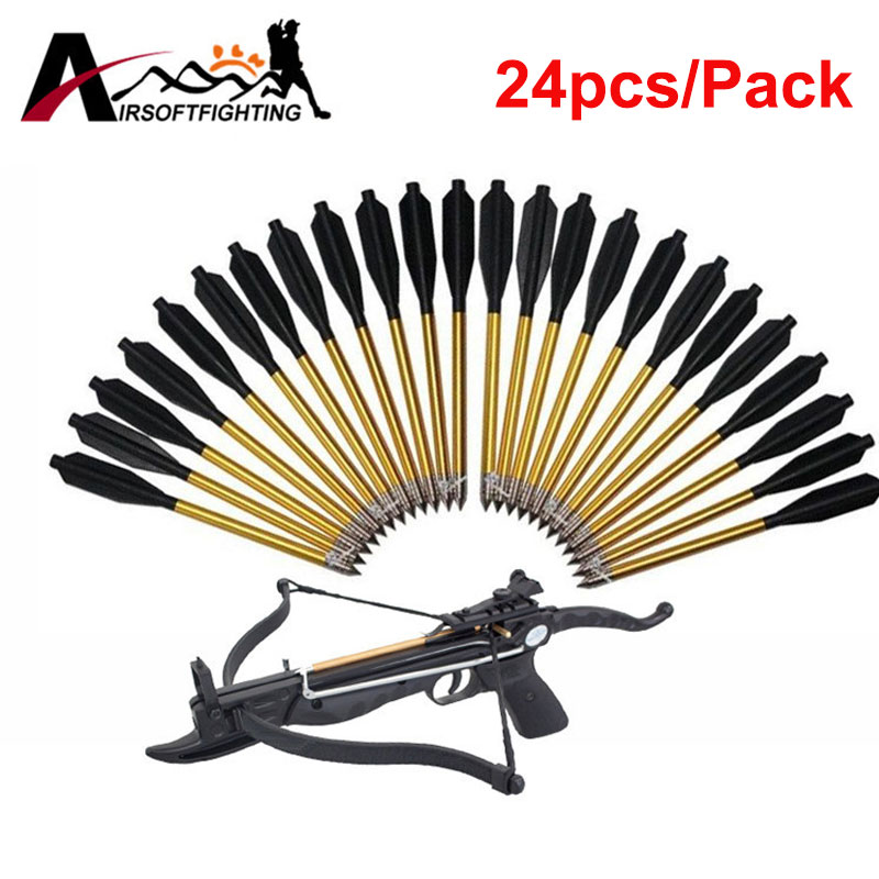 24pcs Golden Aluminum Bolt Arrow For 50 lb / 80 lb Pistol Broadheads Archery Arrowhead Crossbow Arrow Head for Hunting Shooting