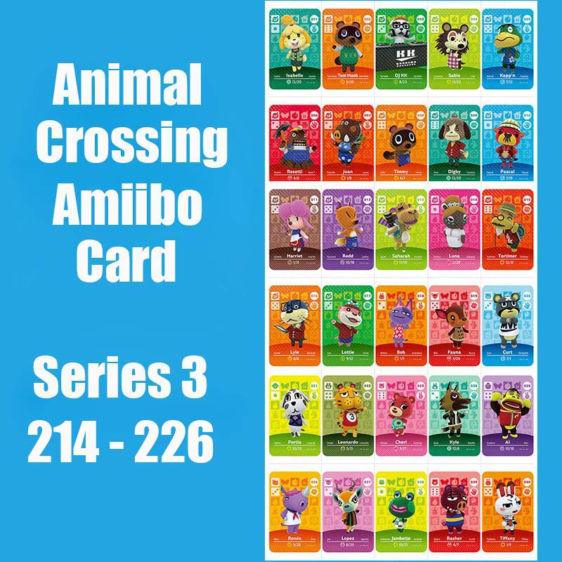 Series 3 (214-226) Animal Crossing Card Amiibo Cards Work For Switch NS 3DS Games Animal Crossing Amiibo Card New Leaf