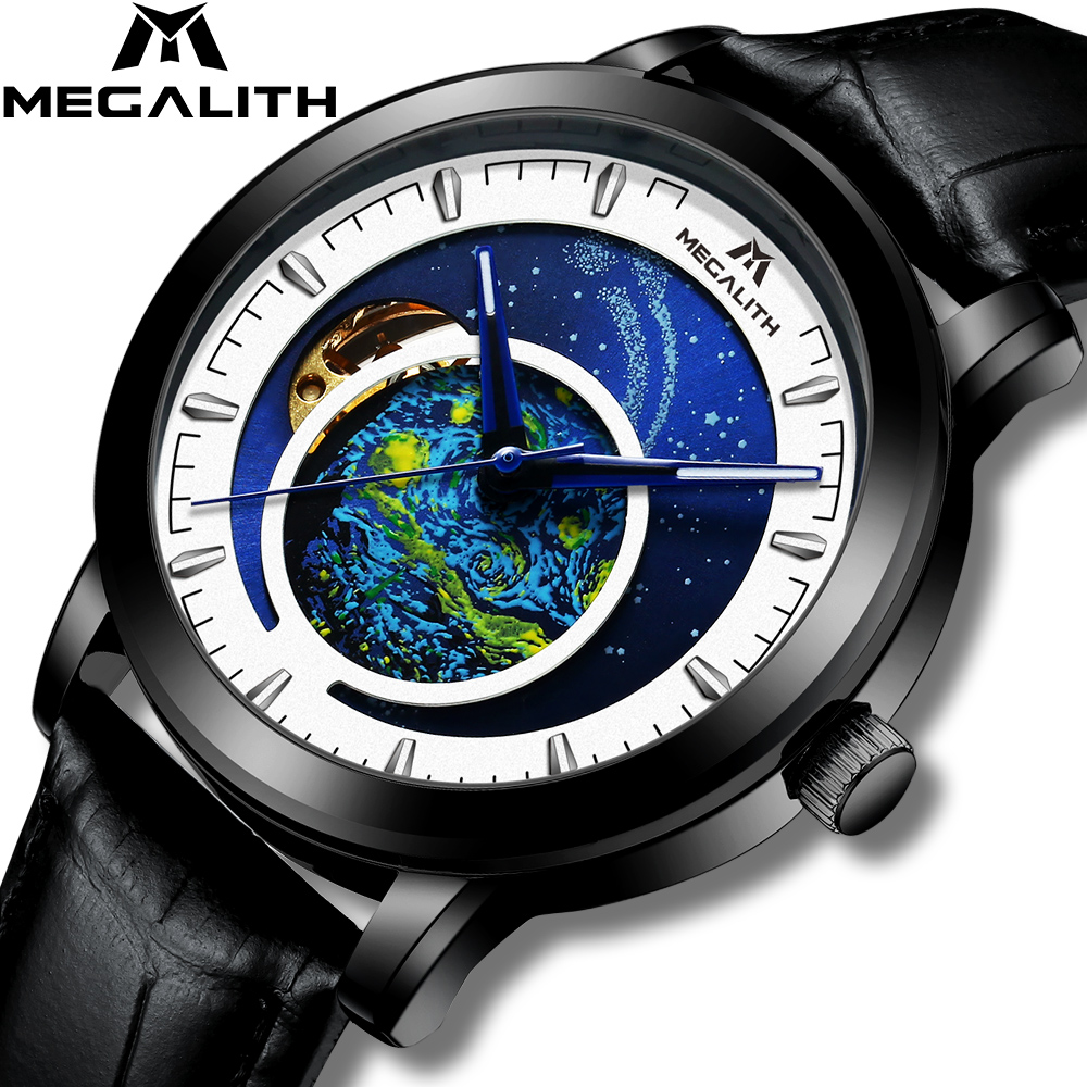 MEGALITH Men Watch Automatic Mechanical Watches Leather Waterproof Business Wrist Watch Male Starry sky Clock Relogio Masculino