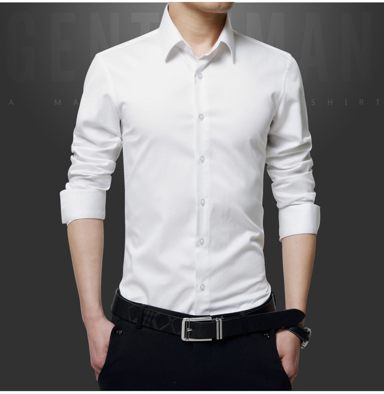 White Shirt Men's Long Sleeve Korean-style Fashion University Style Slim Men South Korea Handsome Students Base Underwear Shirt