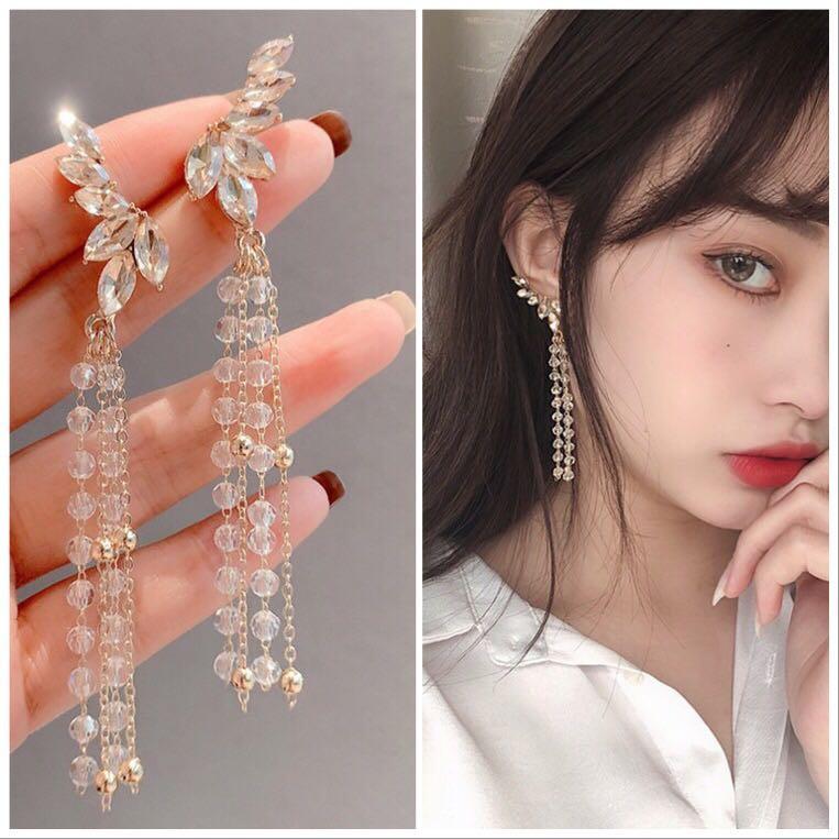 Clip on Earrings No Pierced Ears Statement Angel Wing Long Crystal Tassel Clip Earrings Without Piercing Women Bride