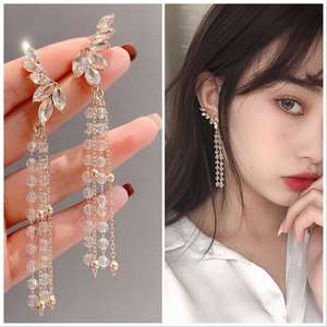 Orejas clips cobre cristal perlas rosa transparente//claro