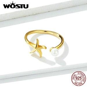 Image 3 - Wostu brincos prata esterlina 100%, cor dourada starfish dorp brincos & colar & pulseira & anéis joias para mulheres