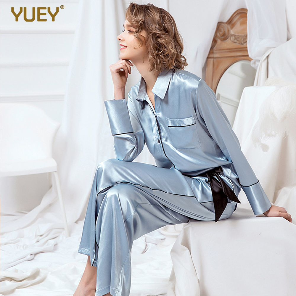 Women Silk Pajamas Set Vintage Light Blue Noble Spring 2020 New Long Sleeve 2 Pieces Home Sleeping Clothes Logo Customised