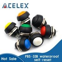 Uds 2Pin Mini interruptor 12mm 1A interruptor a prueba de agua pbs33b 12v interruptor momentáneo pulsador de reinicio no-bloqueo pbs-33b