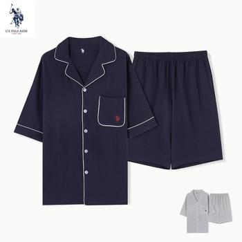 U s Polo Assn 100 bawełniana piżama męska bawełniany sweter z krótkim rękawem piżamy topy spodenki do domu 2-sztuka garnitur tanie i dobre opinie COTTON CN (pochodzenie) pół REGULAR Wykładany kołnierzyk PIŻAMY Normalna guzik ARS001 Elastyczny pas Stałe