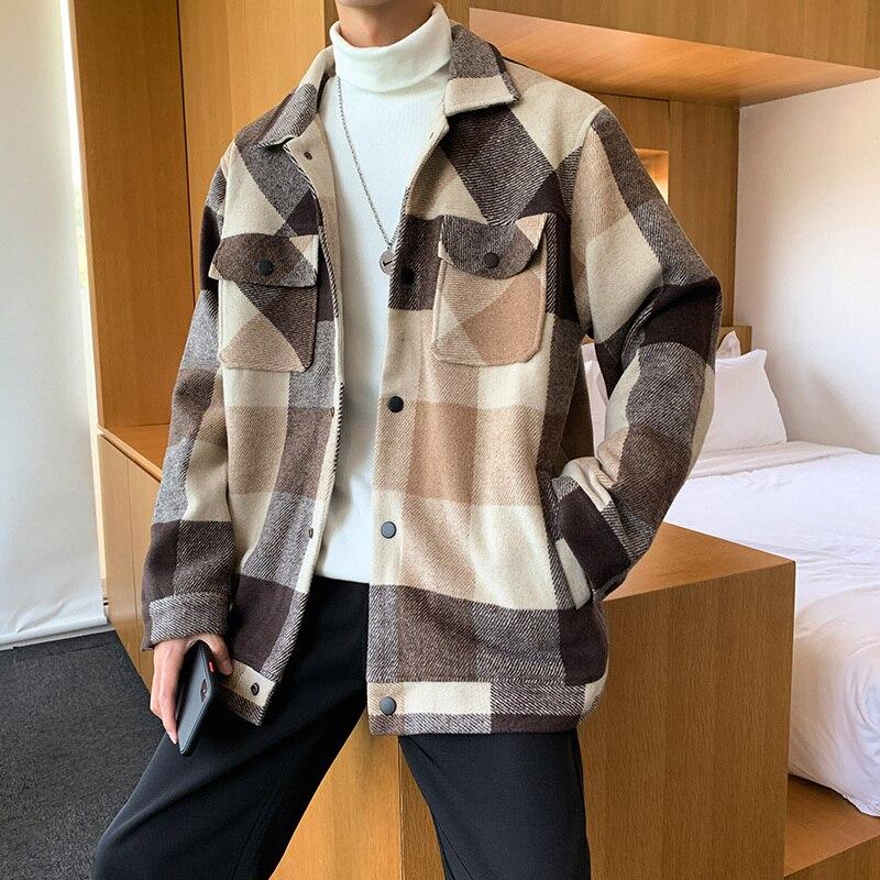 Winter Woolen Coat Men Fashion Casual Tartan Woolen Jacket Men Streetwear Wild Loose Large Size Man Jackets Overcoat M-5XL