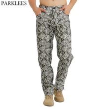 Pants Men Snake-Pattern Streetwear-Trousers Hip-Hop Hi-Street Side-Zipper Stage Hommes