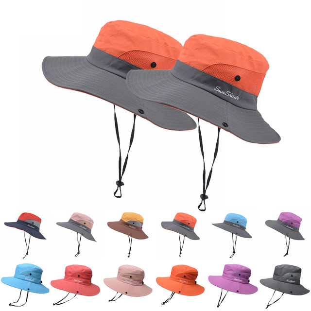Women Children Kid Uv Protection Foldable Mesh Beach Bucket Cap  1