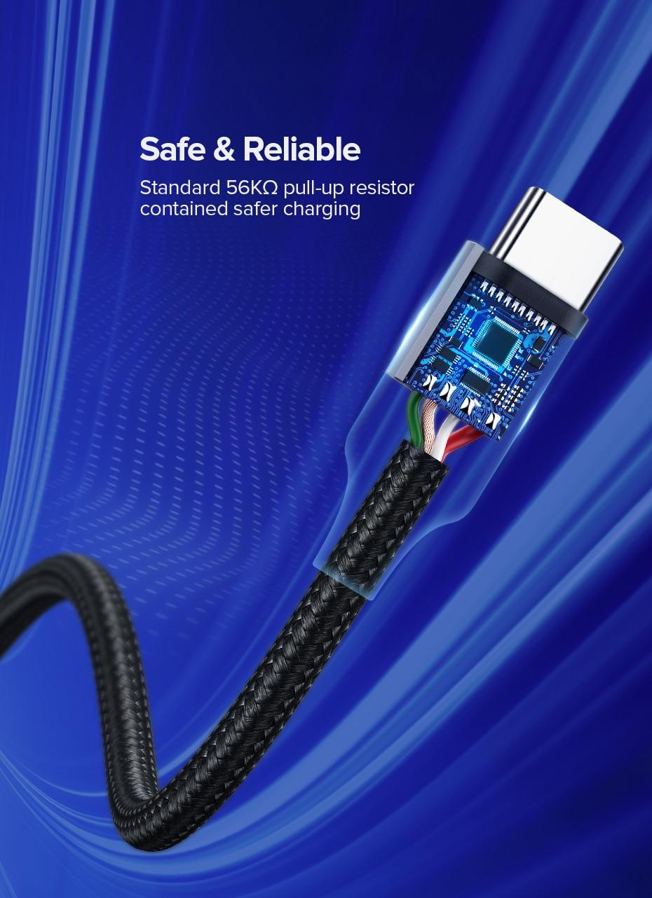 UGREEN USB C-kabel för Xiaomi Redmi Note 10 USB Type C 3A Snabb telefonladd för Huawei P40 Pro Type C Laddarkabel USB C