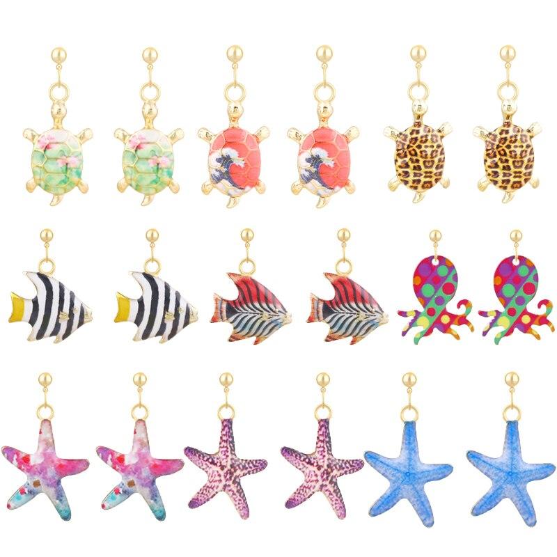 New Fashion Creative Tropical Fish Earring Cartoon Enamel Octopus Animal Turtle Pendant Drop Earring For Girl Women Jewelry Gift